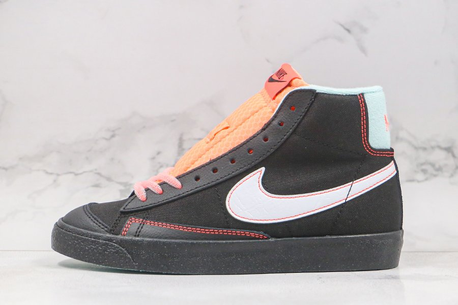 Womens Nike Blazer Mid 77 Black Flash Crimson-Atomic Pink-White