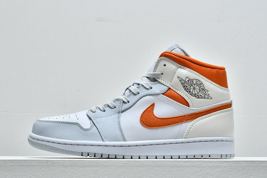 Buy Jordan 1 Mid White Starfish Orange-Pure Platinum-Sail