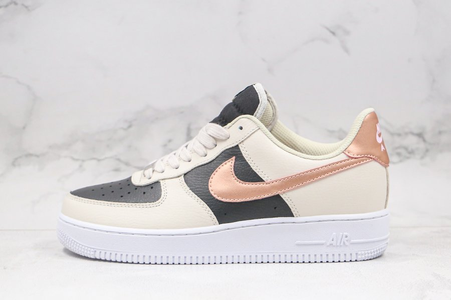 Nike Air Force 1 Low Beige Black With Copper Swooshes