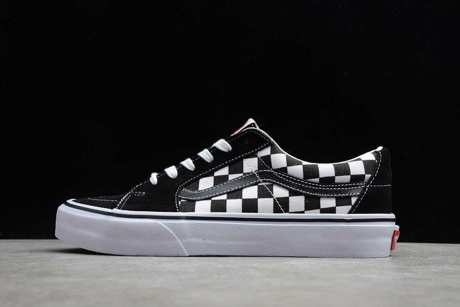 Vans SK8-Low Checkerboard Skate Shoes Black White Discount Sale