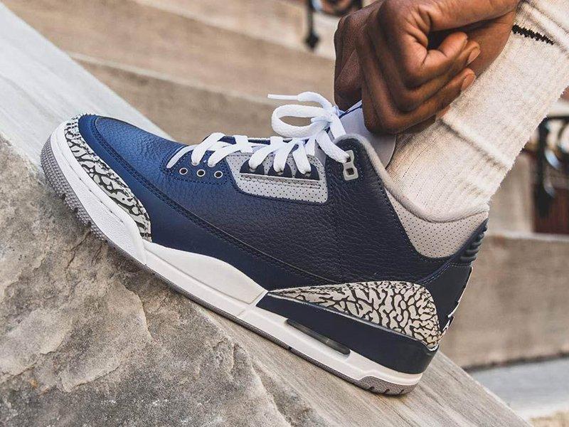 Air Jordan 3 Retro Georgetown On Feet