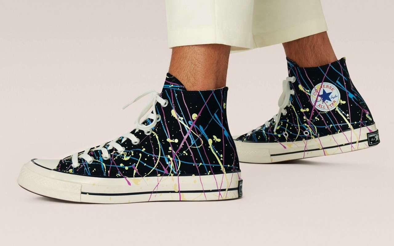 Converse Chuck 70 Hi Paint Splatter black on feet