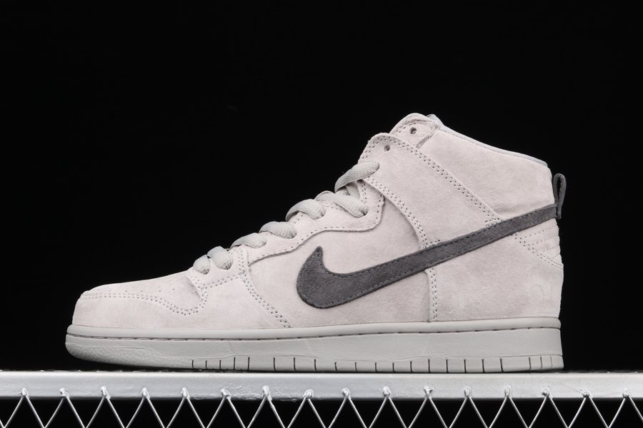 Mens Nike SB Dunk High Gray Suede Black To Buy