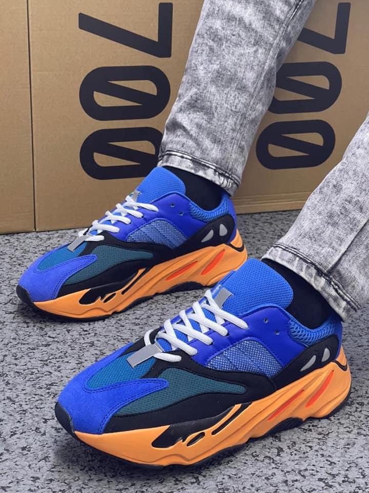 adidas Yeezy BOOST 700 Bright Blue On Feet