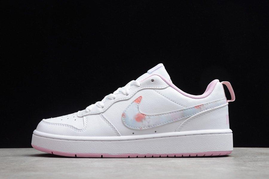 Grade School Nike Court Borough Low 2 White Pink