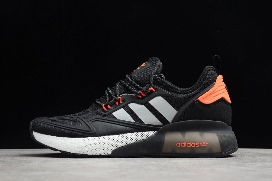 adidas ZX 2K Boost Black Grey Orange Running Sneakers