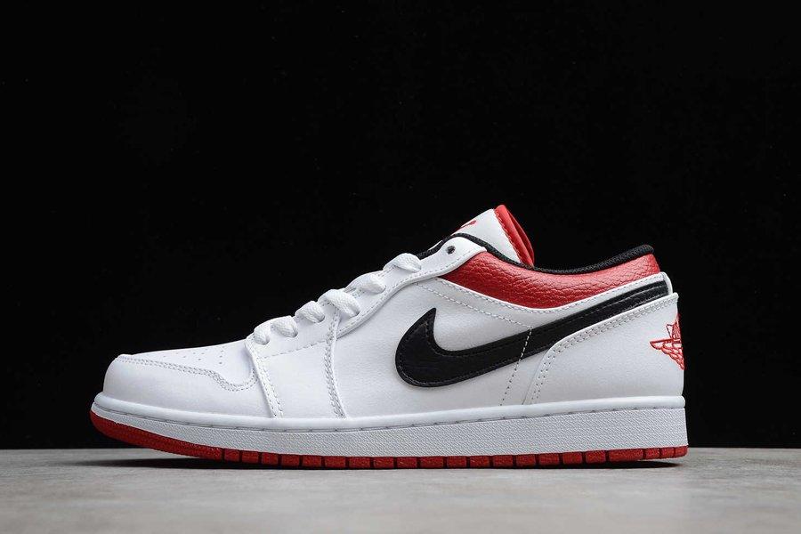 Air Jordan 1 Low White University Red-Black 553558-118 On Sale