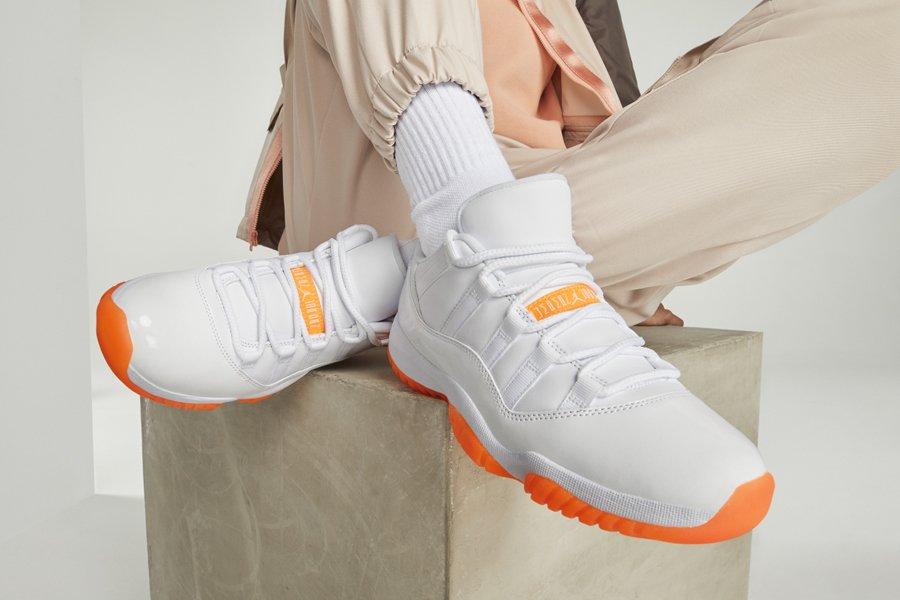 Air Jordan 11 Low WMNS Bright Citrus On Feet