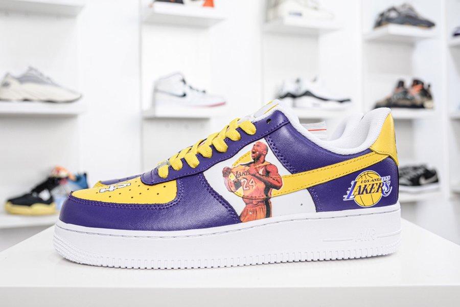 Nike Air Force Low Kobe White Purple Yellow Online Kopen