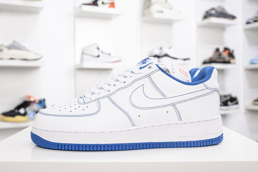 White Nike Air Force Low With Game Royal Stitching