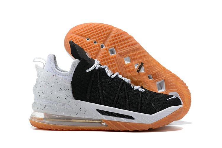 CQ9283-007 Nike LeBron 18 Black White-Gum Medium Brown