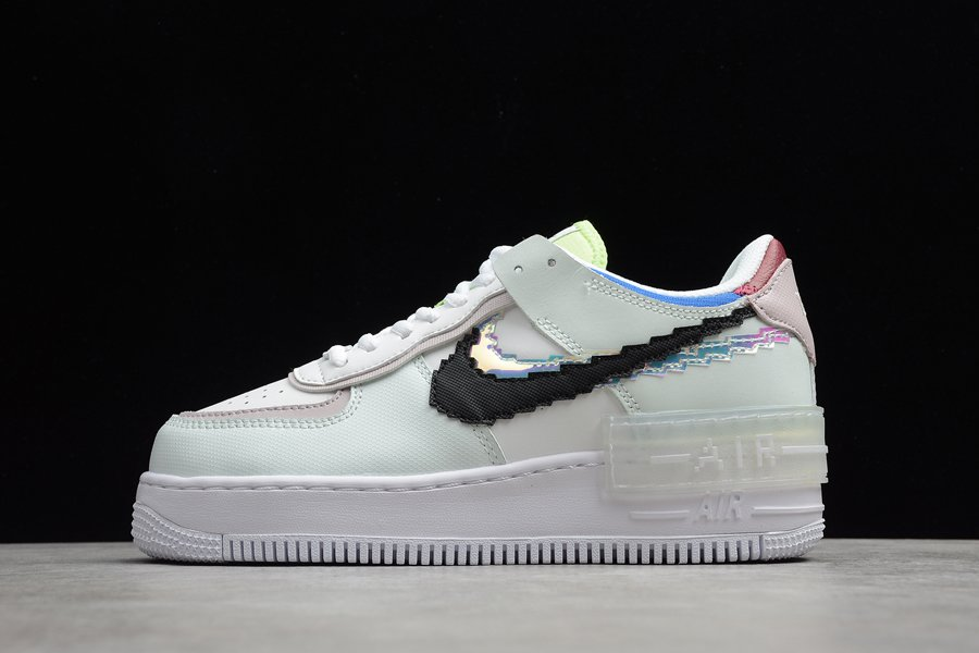 Nike WMNS Air Force 1 Shadow SE Pixel Swoosh Barely Green White On Sale