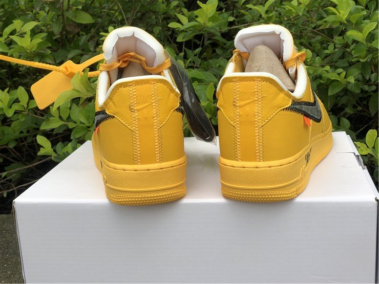 Off-White x Nike Air Force 1 Low University Gold DD1876-700 Heel