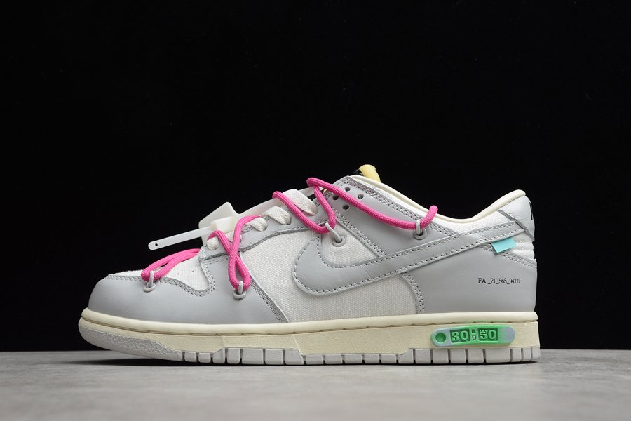 Off-White x Nike Dunk Low The 50 Sail Grey With Purple Hiking Laces
