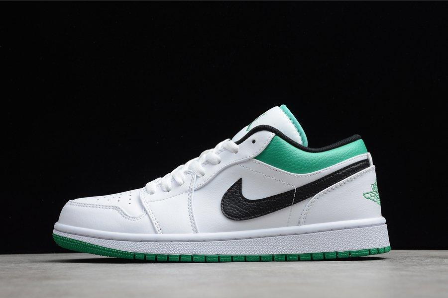 Air Jordan 1 Low White Stadium Green-Lucky Green-Black