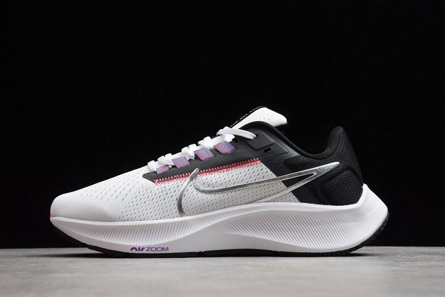 Nike Air Zoom Pegasus 38 White Black Flash Crimson Metallic Silver