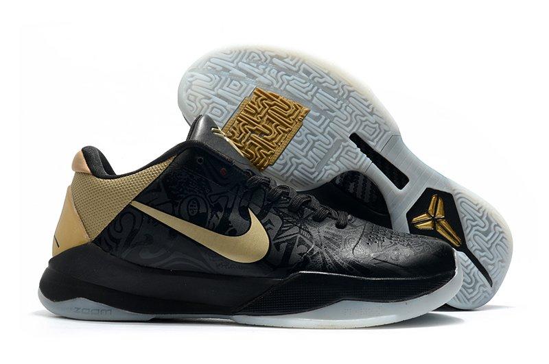 Nike Kobe 5 Big Stage Away Black Metallic Gold-White