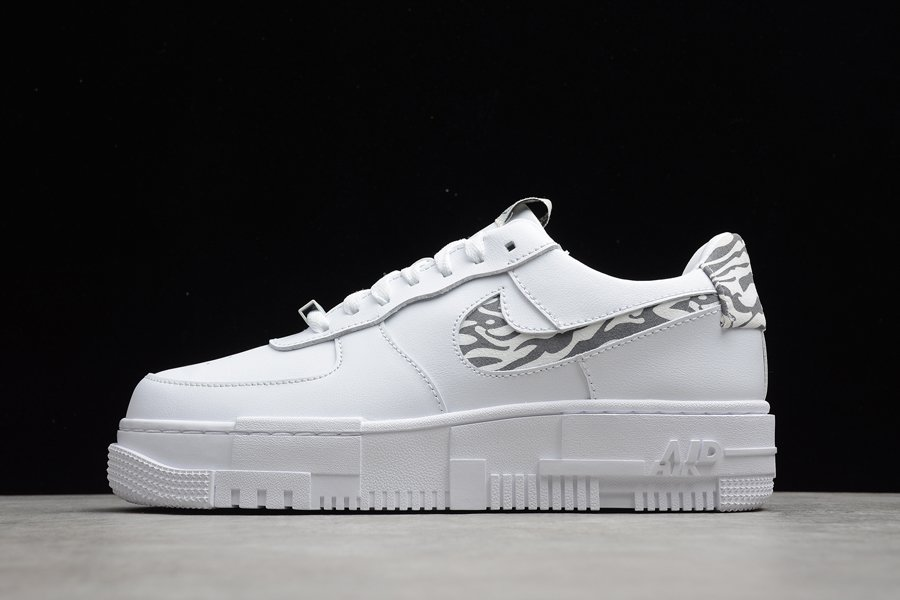 DH9632-100 Nike Air Force 1 Pixel Zebra Print White Grey
