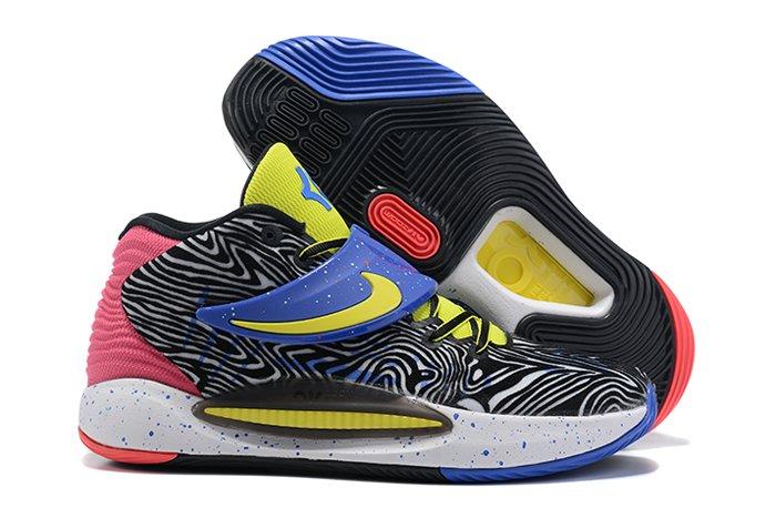 Nike KD 14 Paint Splatter Black Fusion Red-White-Yellow Strike