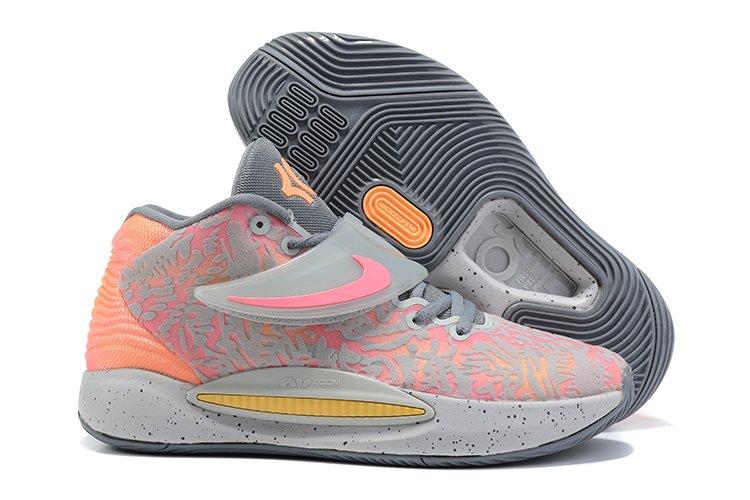 Nike KD 14 Sunset Grey Fog Particle Grey-Peach Cream-Sunset Pulse