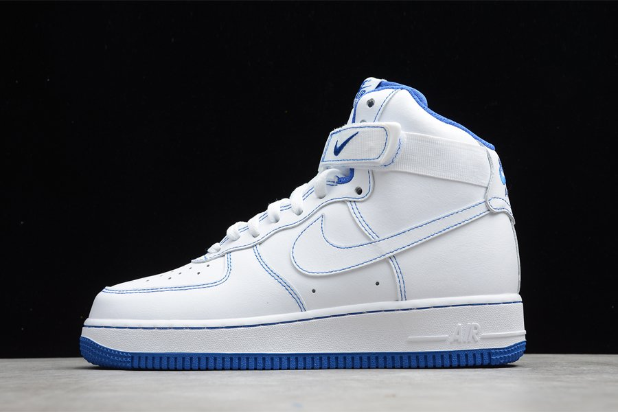 White Royal Blue Nike Air Force 1 High With Blue Stitching