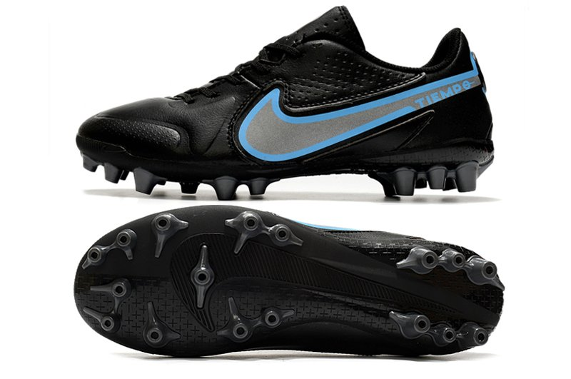 Nike Tiempo Legend 9 Academy AG Artificial-Grass Soccer Cleat Black Grey Blue
