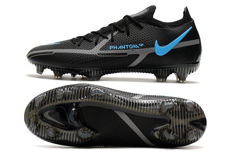 Scarpe Nike Phantom GT2 Elite FG Black Grey Blue Soccer Shoes uomo
