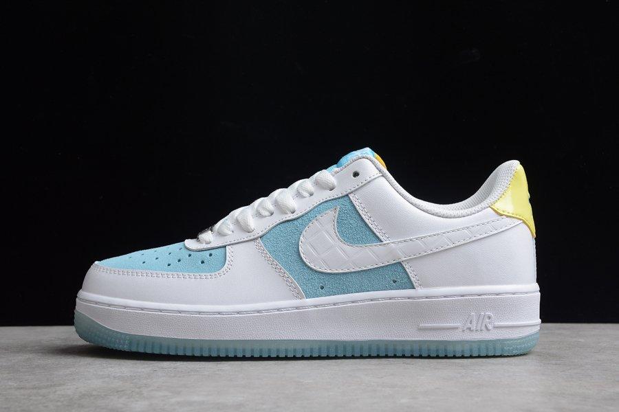 Skor Billiga Nike Air Force 1 Low White Legend Blue-Yellow