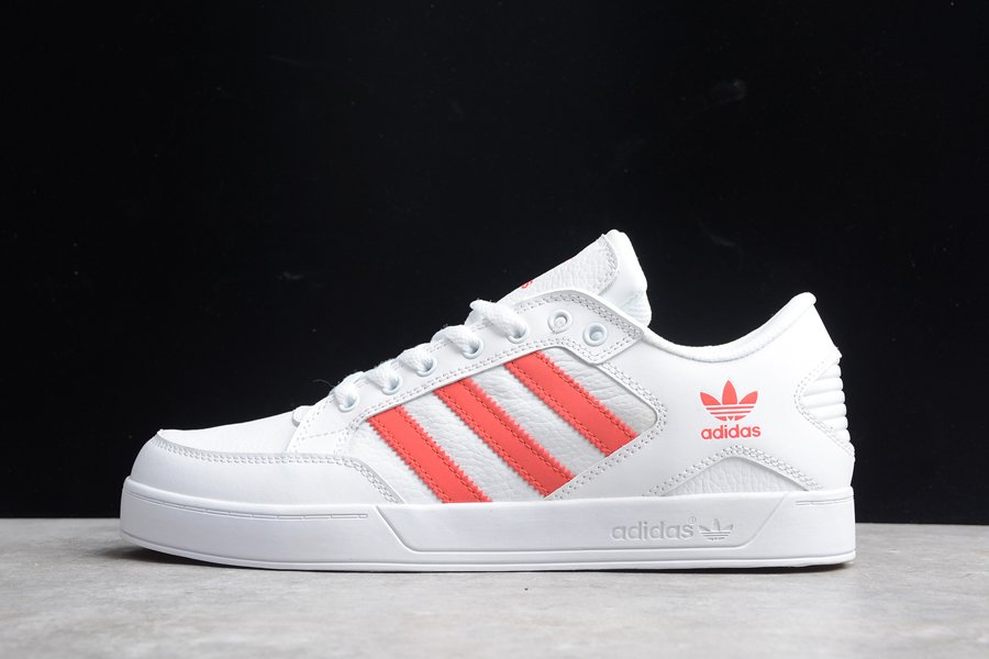 adidas Hardcourt Low Lace Up Casual Shoes White Red