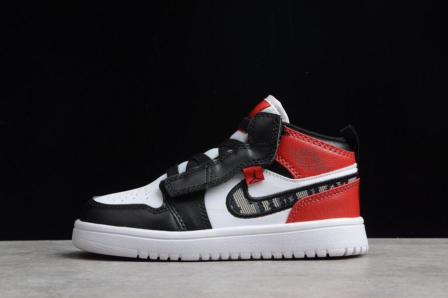 Buy Kids Air Jordan 1 Mid White Black Red Sneakers