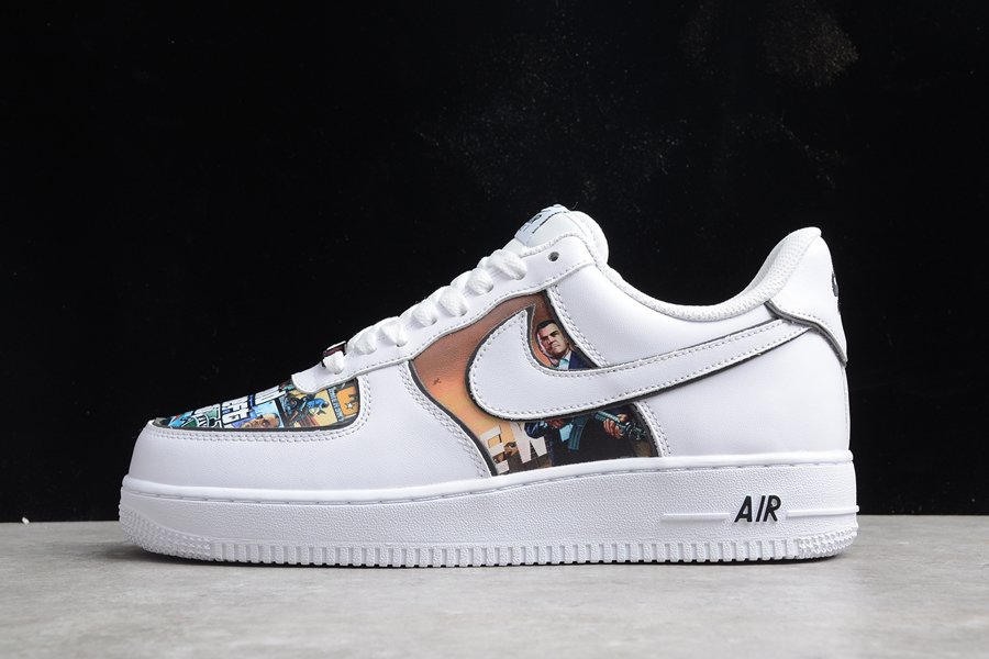 Custom Nike Air Force 1 Low Grand Theft Auto White For Sale