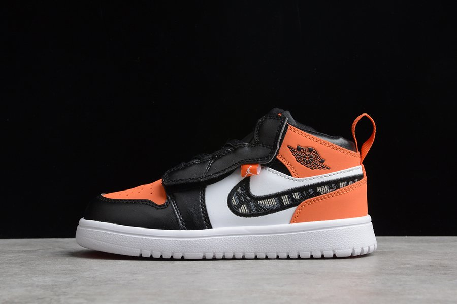 Kids Air Jordan 1 Mid White Black Orange New Sale